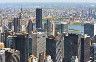 New York City view. Turtle Bay in Midtown Manhattan, Queensboro Bridge over East River and New Jersey Wall mural