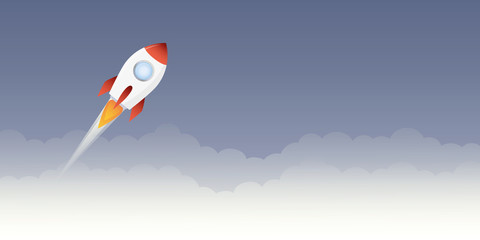 rocket launch into space vector illustration EPS10