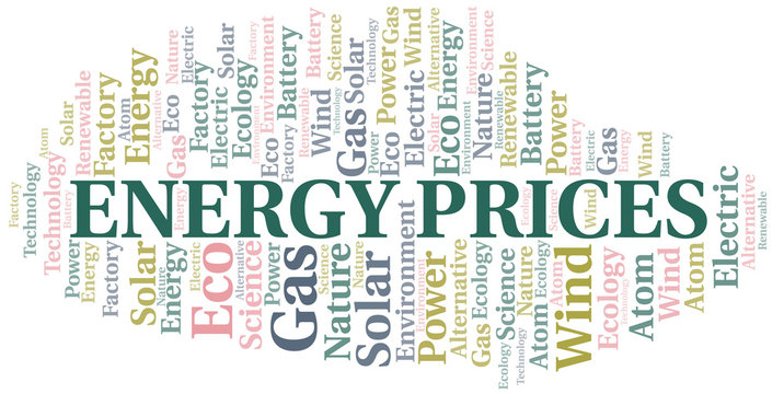 Energy Prices word cloud. Wordcloud made with text only.