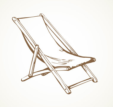 Beach chair. Vector freehand drawing