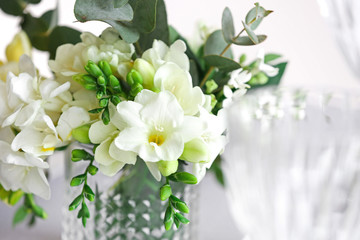 Beautiful bouquet with fresh freesia flowers