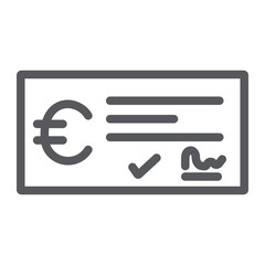 Bank check payment line icon, finance and banking, cheque sign, vector graphics, a linear pattern on a white background.