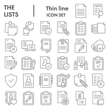Lists thin line icon set, documents symbols collection, vector sketches, logo illustrations, paper signs linear pictograms package isolated on white background, eps 10.