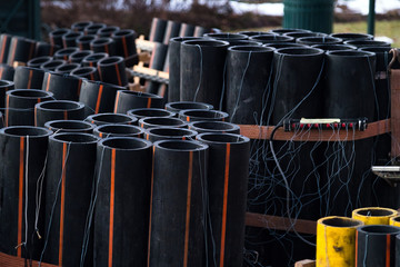 Preparation of big firework show with tubes with gunpowder and electric wire