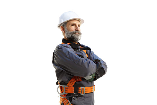 Senior old engineer working isolated white background