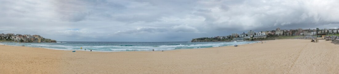 Beautiful panoramic view of the famous Bondi beach in Sydney, Australia on a cloudy day