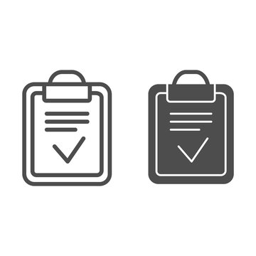 Clipboard done line and glyph icon. Done list vector illustration isolated on white. Paper with check outline style design, designed for web and app. Eps 10.