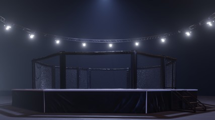 Mma arena side view. Empty fight cage under lights. 3D rendering