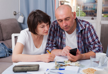 Husband and wife calculate income and expenses on smartphone