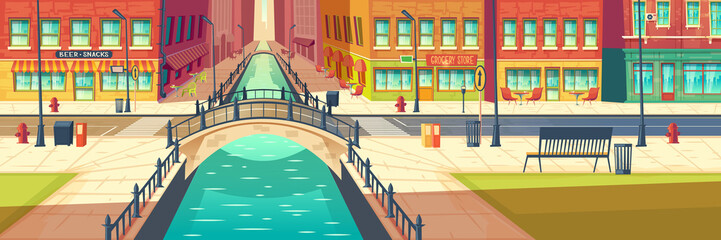 Modern city empty street cartoon vector background with two line road over river arch bridge, bench on sidewalk, street cafe, bar or restaurant outdoor terraces seating, stores showcases illustration Fototapete