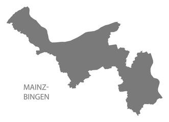 Mainz-Bingen grey county map of Rhineland-Palatinate DE