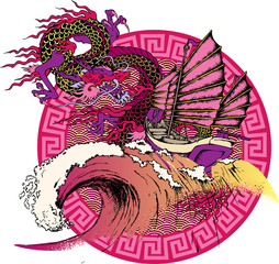 Design of asian dragon and sea wave. Vector illustration. Suitable for fabric, wrapping paper and the like