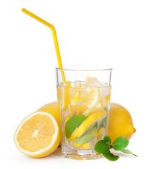 Glass of lemonade isolated on white background