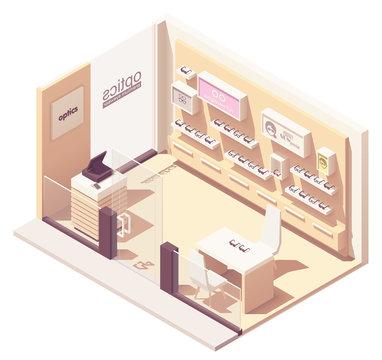 Vector isometric eyewear store