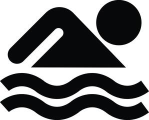 Pittogramma persona che nuota - vettoriale