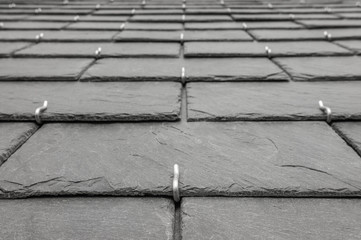 Hintergrund Schiefersteine auf Dach verlegt close up Rechteck-Doppeldeckung - Background slates laid on roof close up rectangle double roofing