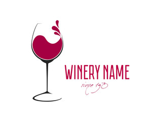 Fototapeta Glass of Wine with splash logo design obraz
