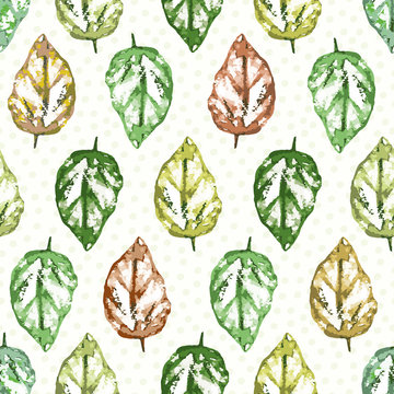 Painterly leaves in hues of green and red with subtly polka dot texture. Seamless geometric vector pattern on warm white background. Great for wellness, beauty, garden, products, stationery, packaging