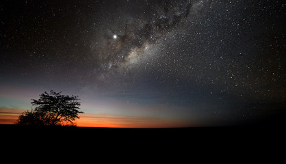 First hint of dawn in Kgalagadi Transfrontier Park, Africa. Orange horizon with stars and milky way. Dawn in a deserted savanna. African night landscape. Peaceful and quiet place. Camping in Africa.