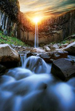 Svartifoss waterfall with basalt pillars, Iceland