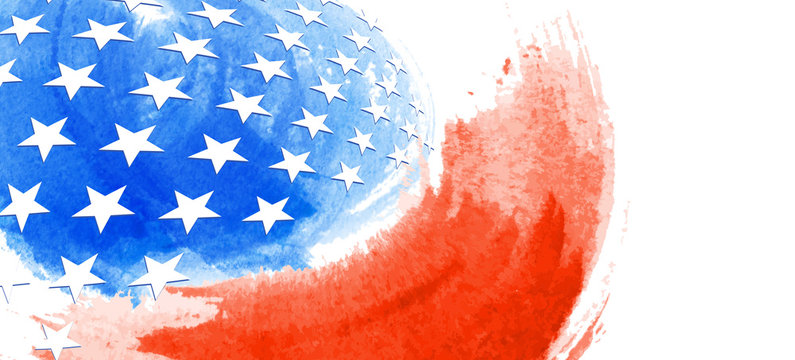 American Abstract Flag Painting, brush strokes as a layered vector file