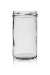 Opened glass jar without cover with reflection on a white background