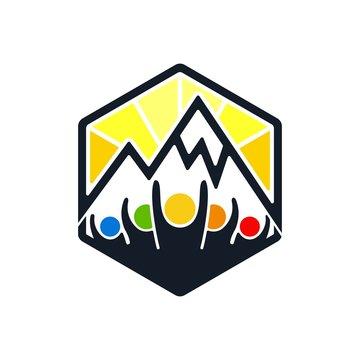 team with mountain outdoor vector logo