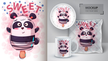 Panda, bear ice cream - mockup for your idea