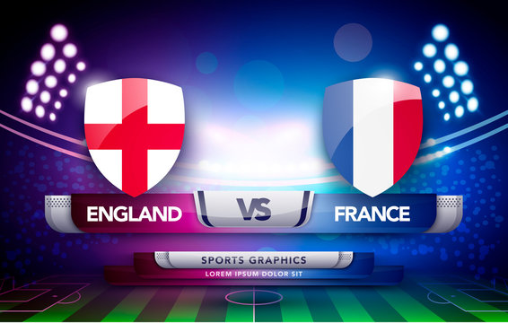 vector world championship football cup flag and stadium background. soccer scoreboard match vs strategy broadcast graphic template
