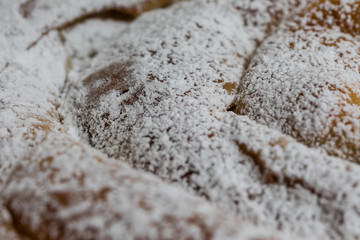 Ensaimada, typical dessert from Mallorca, Spain, filled with sweet angel hair