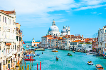 Grand Canal and Basilica Santa Maria della Salute in Venice, Italy. Famous tourist destination. Travel and vacation concept Fototapete