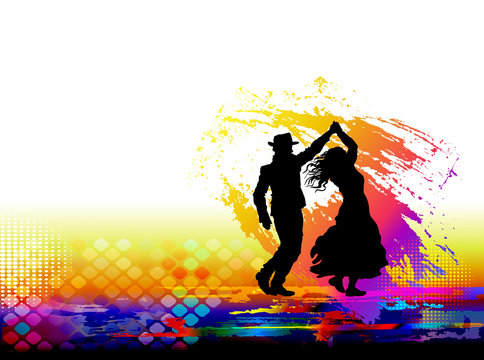 Couple of dancers. Vector illustration