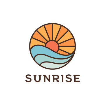 Sunrise beach logo design inspiration