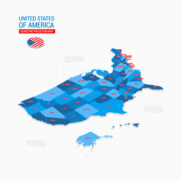 United States of America USA Isometric Map Projection Template