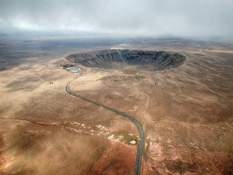 High angle aerial of Meteor Crater, Arizona.
