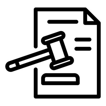 Judge paper decision icon. Outline judge paper decision vector icon for web design isolated on white background