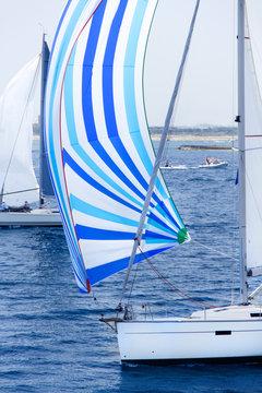 Sailing yachts during regatta  Brindisi Corfu 2019