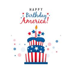 Happy Birthday America greeting card vector design, USA Cake.