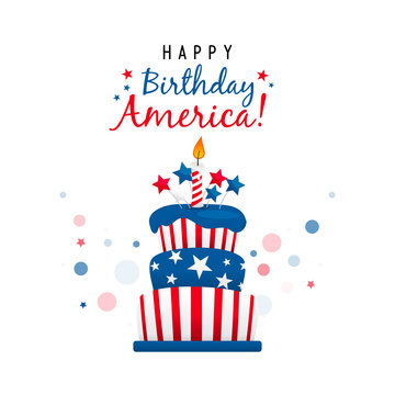 Happy Birthday America greeting card vector design, USA Cake.