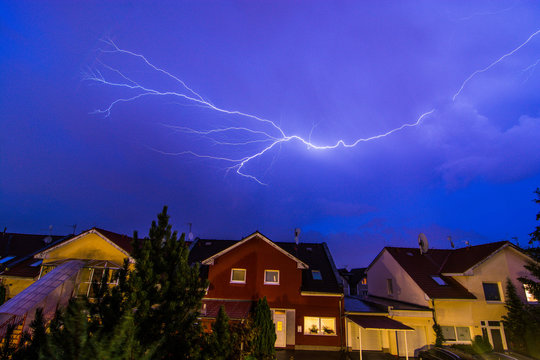 Lightning on the sky during summer storm