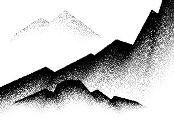 Abstract backgroun with mountains and wave of scattered dots