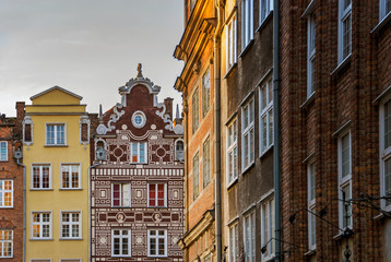 Old historical building architecture facade in Gdansk