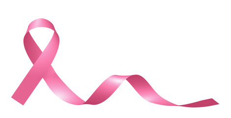 Realistic pink ribbon isolated on white.