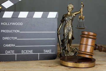 Cinema and Video Laws Symbol Concept , Gavel and Clapperboard