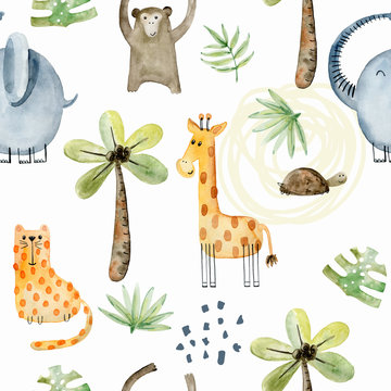 Watercolor safari animals.