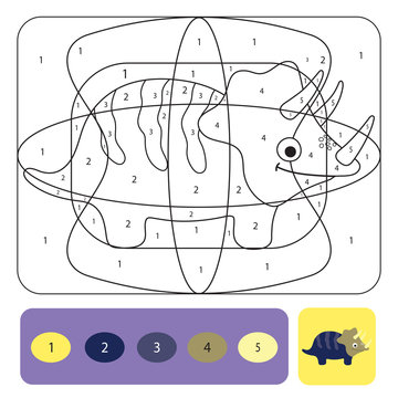 Cute dino coloring page for kids. Coloring puzzle with numbers of color