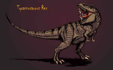 Cool aggressive dinosaur tyrannosaurus rex with open mouth illustration