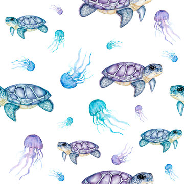 Watercolor turtles pattern. Hand drawn watercolor  turtles with jelly fishes
