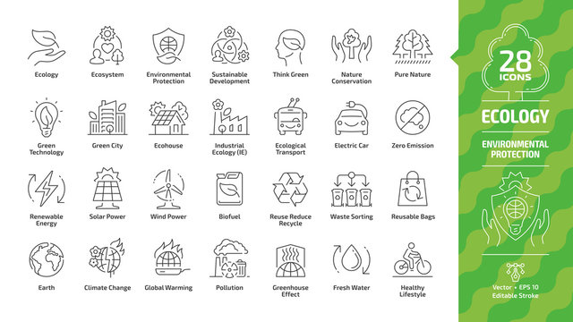 Ecology outline icon set with eco city, green technology, renewable energy, environmental protection, sustainable development, nature conservation, electric car & Earth editable stroke line symbols.