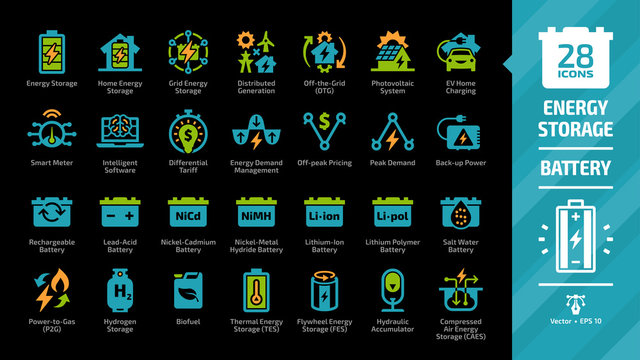 Energy storage color icon set on a black background with distributed generation, solar panel system, off the grid, EV home charging, demand management, rechargeable battery and more glyph symbols.